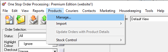 Manage Products menu option