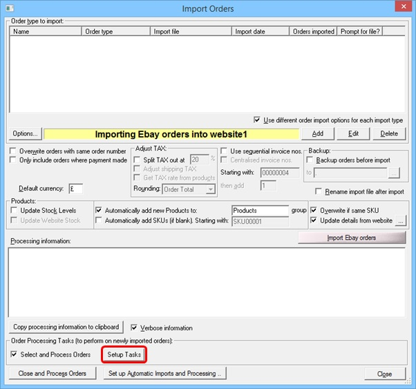 One Stop Order Processing Set Up Import tasks