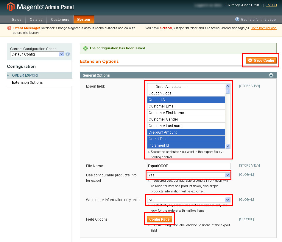 Admin Panel Configuration