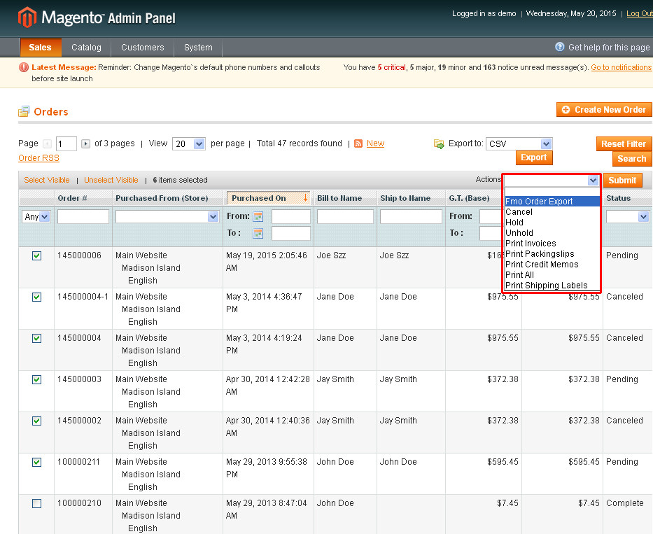 Magento Extension Export
